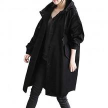 BOLAWOO Impermeabile da Donna Impermeabile Confortevole Impermeabile Impermeabile Lungo Giacca Mode di Marca a Vento Bottone Elegante Outwear con Tasche Cappotto con Cappuccio