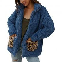 Lulupi Donna Cardigan Zip Teddy Bear Cappotto in Pelliccia Sintetica con Stampa Leopardo Caldo Giacca in Pile Ragazzo Giubbino con Tasca Davanti Parka Coat Outwear