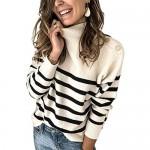WangsCanis Maglione Donna a Maniche Lunghe Collo Alto Cardigan Lavorato a Maglia Pullover Dolcevita Casual Elegante Vintage