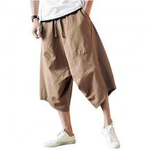 Minetom Uomo Pantaloni di Lino Casual Capri Pantaloncini Bermuda 3/4 Cargo Shorts Vintage Oversize Baggy Coulisse Comodo Jogging Pants