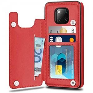 Suhctup Compatibile con Custodia Huawei Mate 20 PRO Pelle Cover Huawei Mate 20 PRO con Interno Morbida TPU Porta Carte Slot e Antiurto Flip Wallet [Chiusura Magnetica] Protettiva Case (Rosso)