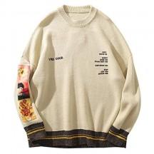 Hip Hop Fashion Maglione Pullover Uomo Van Gogh Pittura Ricamo Maglieria