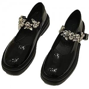 Haojue - Scarpe da donna carine stile retrò stile britannico con perla taglio basso da donna Mary Jane con punta rotonda antiscivolo per ufficio colore: nero