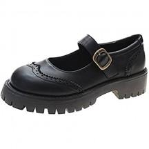 Mary Jane Scarpe da Donna Brogue Buckle Strap Court Shoes Resistente all'Usura Piattaforma Antiscivolo Scarpe Vintage in Pelle con Punta Tonda per Tutti i Giorni