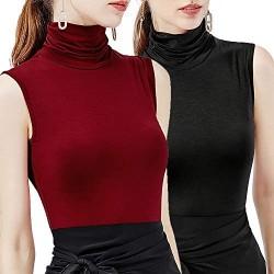 STARBILD Camicia da Donna Top Dolcevita Smanicato Morbido Elasticizzato Gilet Dolcevita Tinta Unita
