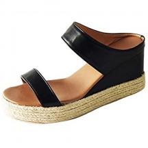 ONEYMM Donna Sandali Solid Slip-On Paglia Aperte Davanti Spessi incunea Pattini Inferiori Casuale più Il Formato dei Pattini della Spiaggia di Estate Sandali Pantofole Nero 36