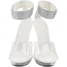 Holibanna 1 Coppia Sandali Donna Tacco Alto Sandali Argento di Cristallo di Modo di Alta Tacchi