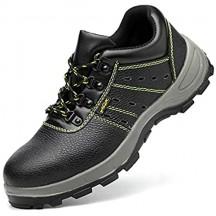 meng Scarpe Antinfortunistiche Uomo Donna Scarpe da Lavoro con Punta in Acciaio Leggere Traspiranti Sneaker da Lavoro Leggere ed Eleganti Scarpe Sportive di Sicurezza (Color : Black Size : 36)