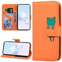 URFEDA Compatibile con Xiaomi Redmi Note 8 Custodia Pelle Cover Flip Caso Cartone Animato Case Colorato Cover Portafoglio Magnetica Libro Custodia Slot per Schede Protettiva Supporto Walle Case Rana