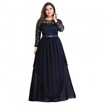Ever-Pretty Vestito da Cerimonia Manica 3/4 Stile Impero Linea ad Chiffon A e Pizzo Lungo Elegante Abiti da Sera Donna 00759