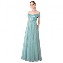 Ever-Pretty Vestito da Festa Donna Linea ad a dalla Spalla Paillettes Tulle Lungo 00860