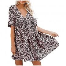 ReooLy Vestito da Donna Moda Boemia Stampa Scollo a V Abito Manica Corta Casual Summer Beach Mini Abito