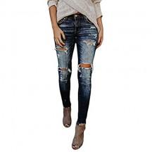 BaZhaHei Jeans a Vita Alta Donna Moda Elasticizzati Skinny Pantaloni Foro Strappato Donna Stretti Casuale Pantaloni Denim Jeggings da Donna con Pulsante Zip Tasca S-3XL