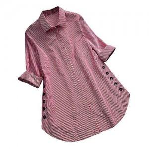 Camicetta Donna A Quadri Eleganti Maniche Lungo Camicie con Pulsante Loose Camicia Taglie Forti Top Blusa Maglietta Autunno Invernali XL-5XL Mambain