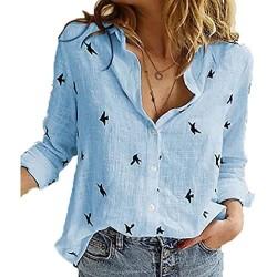Generic1 Camicie da Donna Casual Manica Lunga Uccelli Stampa Camicette Larghe in Cotone e Lino Camicette Vintage da Donna Streetwear Taglie Forti