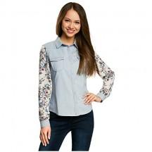 oodji Ultra Donna Camicia in Jeans Mix Materiali