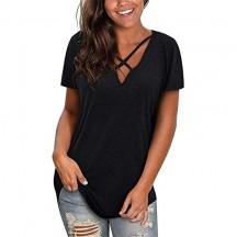 Resplend Donna Colore Puro Camicia Casuale Camicetta Collo a V Manica Maglietta Croce T-Shirt Materiale Morbido di