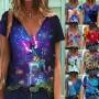 Tomwell Camicette Floreali estive da Donna Camicetta Casual alla Moda T-Shirt con Scollo a V Manica Corta T-Shirt Tops a Elegant Sciolto Oversize Tunica Maglietta